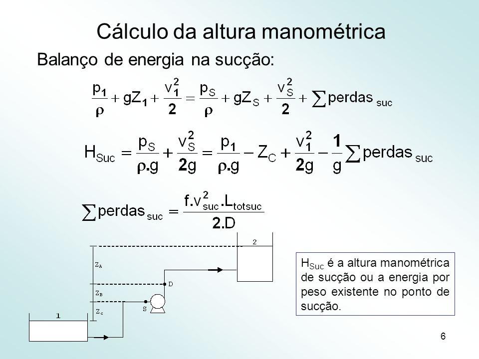 6 Cálculo da altura manométrica Balanço de energia na sucção: H Suc é a altura manométrica de sucção ou a energia por peso existente no ponto de sucçã