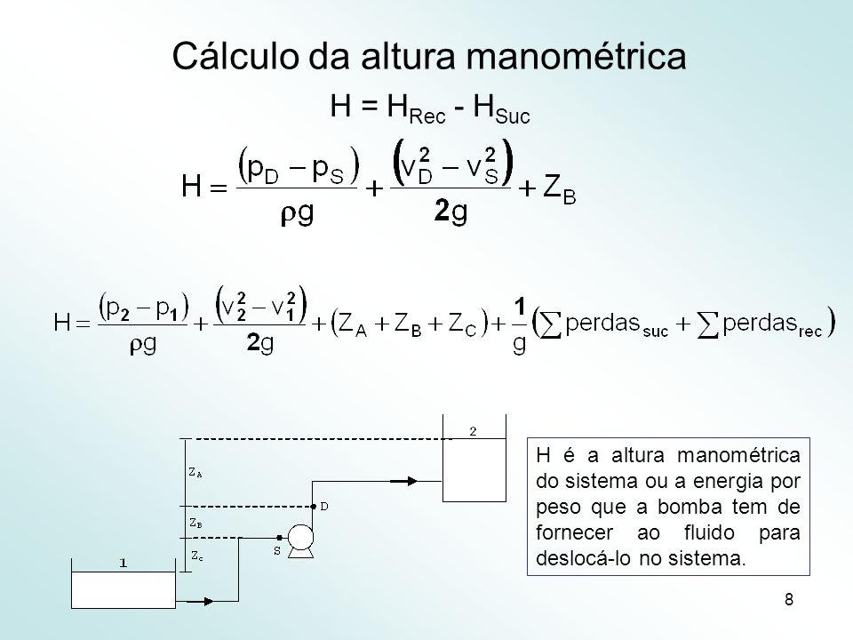8 Cálculo da altura manométrica H = H Rec - H Suc H é a altura manométrica do sistema ou a energia por peso que a bomba tem de fornecer ao fluido para