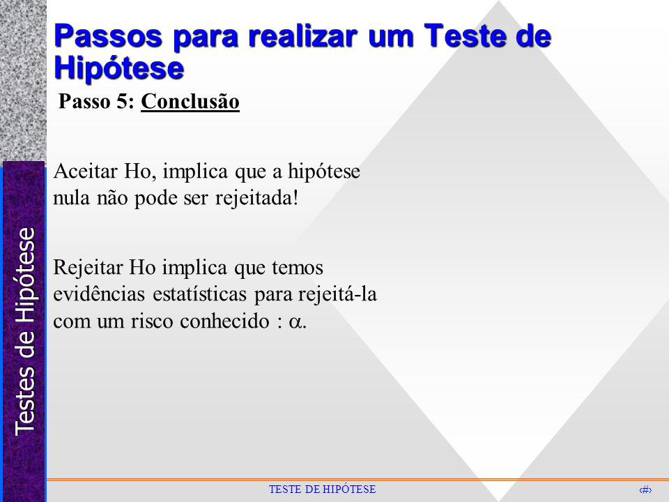 Testes de Hipótese 10 TESTE DE HIPÓTESE Passos para realizar um Teste de Hipótese Passo 5: Conclusão Aceitar Ho, implica que a hipótese nula não pode