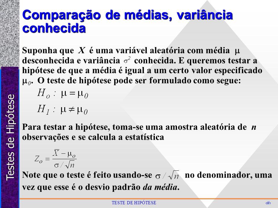 Testes de Hipótese 12 TESTE DE HIPÓTESE Comparação de médias, variância conhecida Suponha que X é uma variável aleatória com média desconhecida e vari