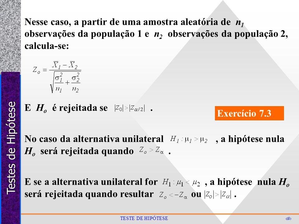 Testes de Hipótese 20 TESTE DE HIPÓTESE Nesse caso, a partir de uma amostra aleatória de n 1 observações da população 1 e n 2 observações da população