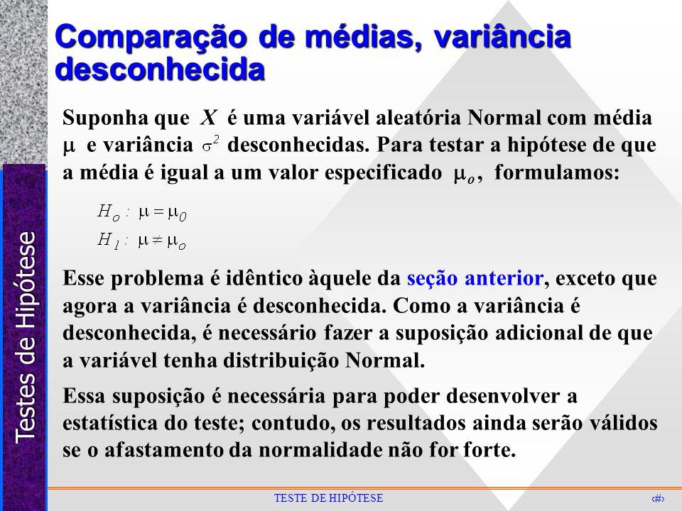 Testes de Hipótese 22 TESTE DE HIPÓTESE Comparação de médias, variância desconhecida Suponha que X é uma variável aleatória Normal com média e variânc