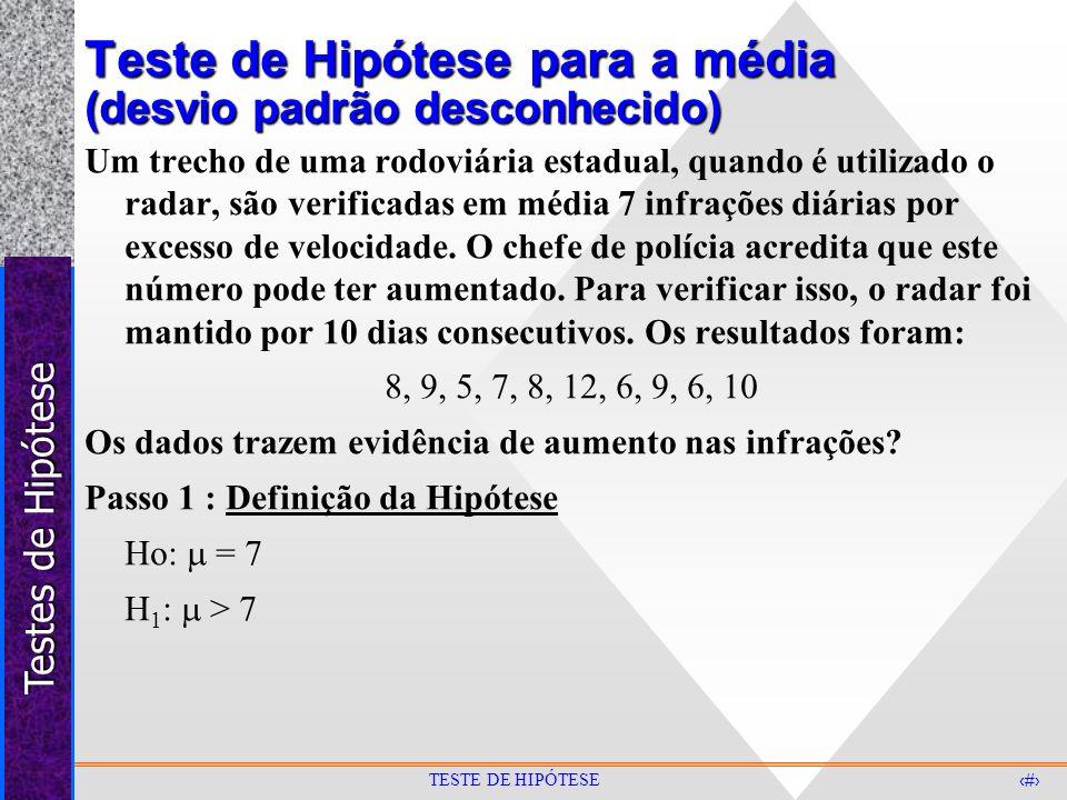 Testes de Hipótese 25 TESTE DE HIPÓTESE Teste de Hipótese para a média (desvio padrão desconhecido) Um trecho de uma rodoviária estadual, quando é uti