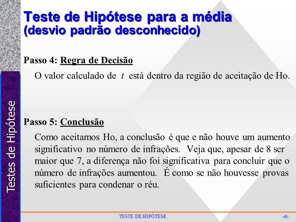 Testes de Hipótese 28 TESTE DE HIPÓTESE Teste de Hipótese para a média (desvio padrão desconhecido) Passo 4: Regra de Decisão O valor calculado de t e