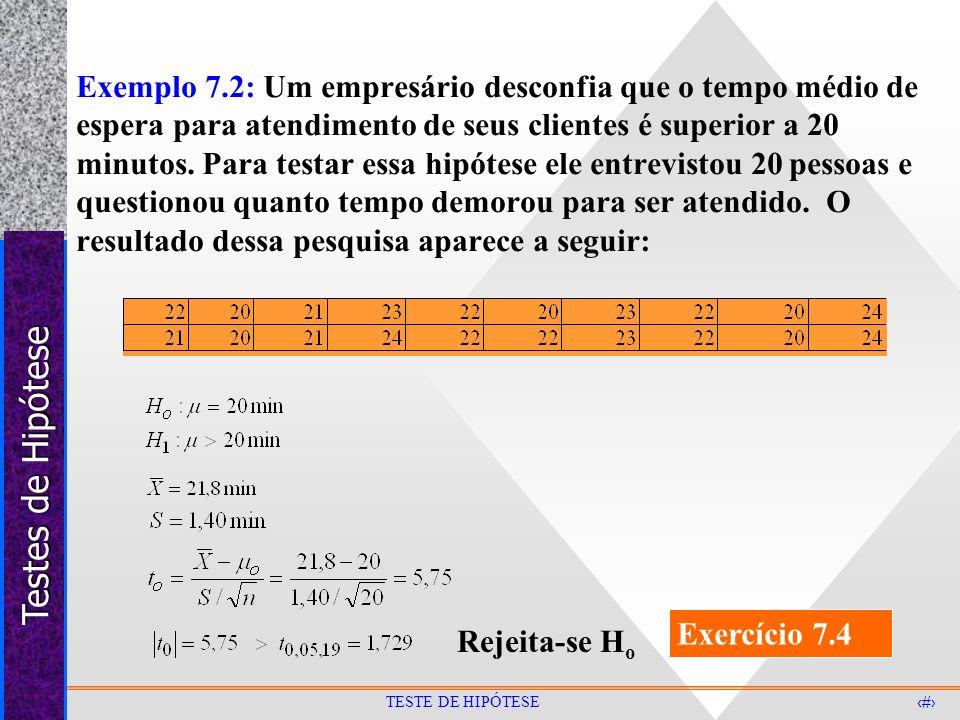 Testes de Hipótese 29 TESTE DE HIPÓTESE Exemplo 7.2: Um empresário desconfia que o tempo médio de espera para atendimento de seus clientes é superior