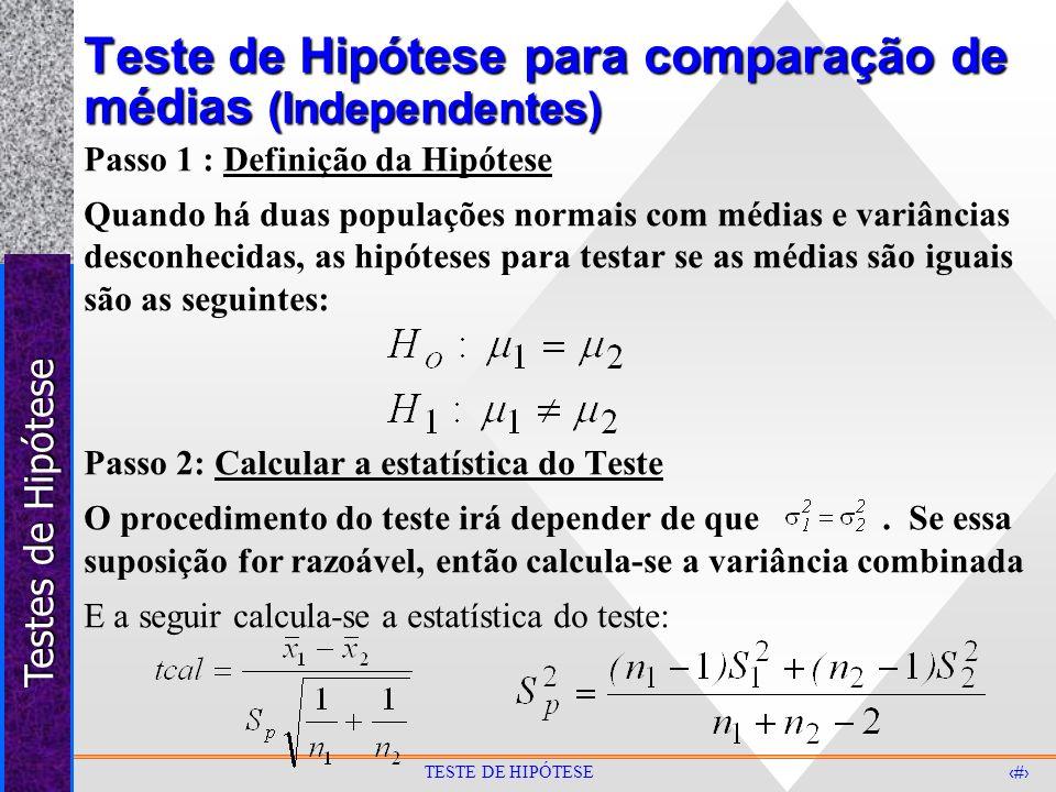 Testes de Hipótese 31 TESTE DE HIPÓTESE Teste de Hipótese para comparação de médias (Independentes) Passo 1 : Definição da Hipótese Quando há duas pop