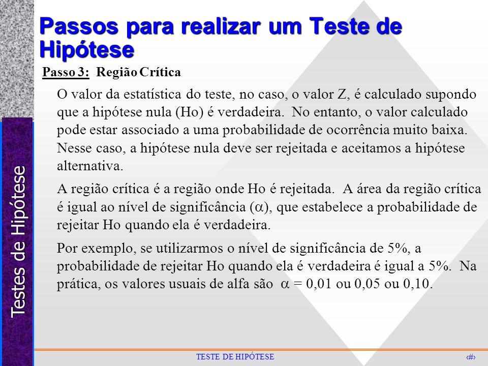 Testes de Hipótese 7 TESTE DE HIPÓTESE Passos para realizar um Teste de Hipótese Passo 3: Região Crítica O valor da estatística do teste, no caso, o v