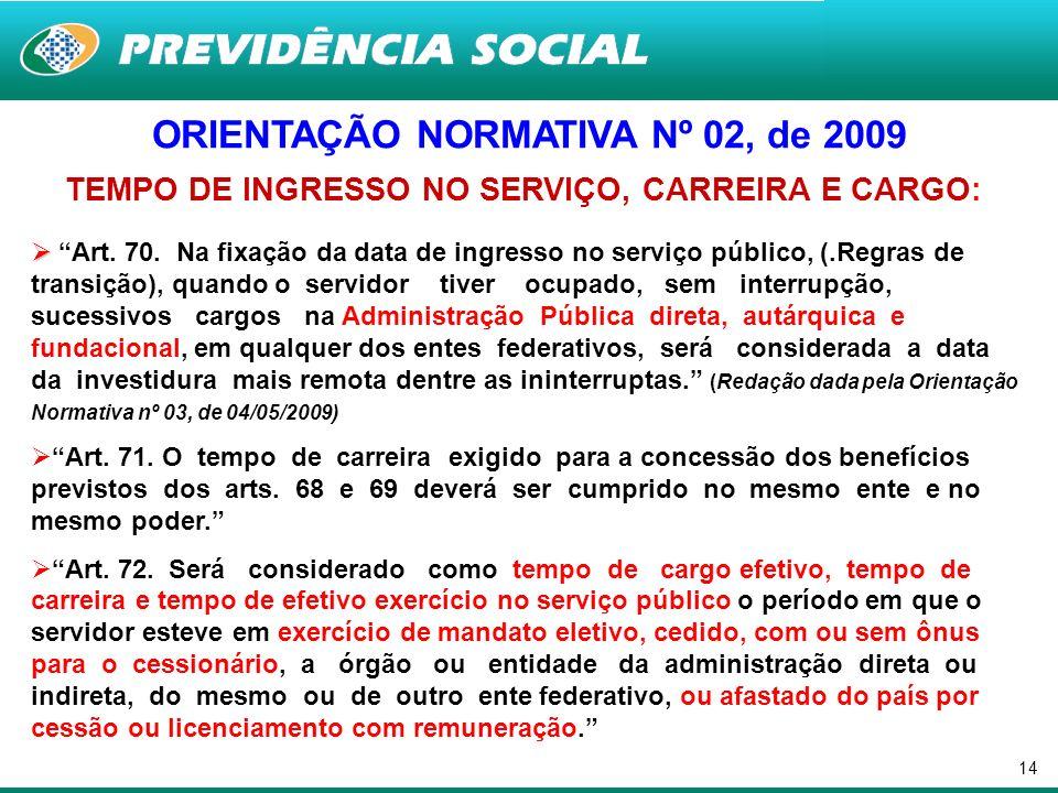14 ORIENTAÇÃO NORMATIVA Nº 02, de 2009 TEMPO DE INGRESSO NO SERVIÇO, CARREIRA E CARGO: Art. 70. Na fixação da data de ingresso no serviço público, (.R