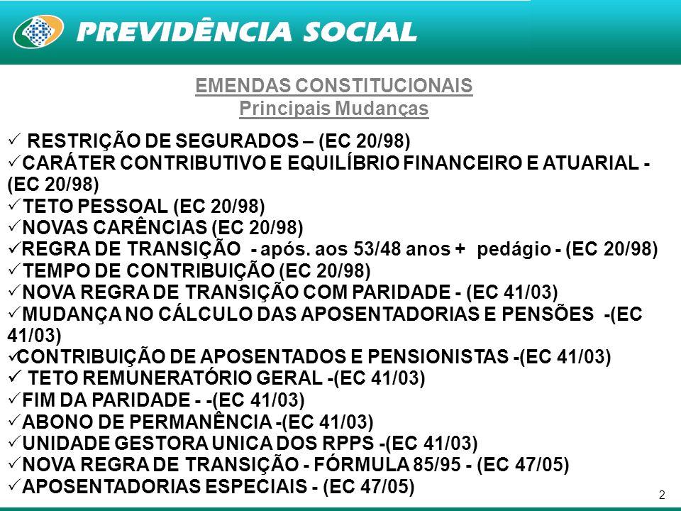 2 EMENDAS CONSTITUCIONAIS Principais Mudanças RESTRIÇÃO DE SEGURADOS – (EC 20/98) CARÁTER CONTRIBUTIVO E EQUILÍBRIO FINANCEIRO E ATUARIAL - (EC 20/98)