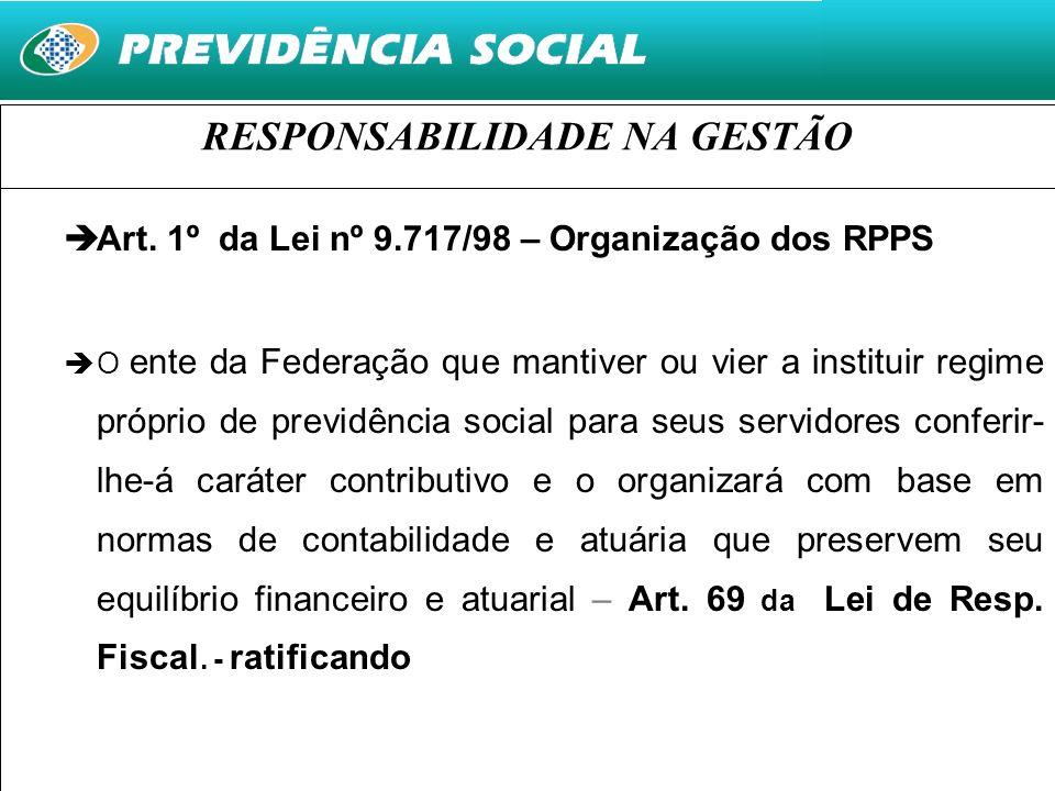 25 RESPONSABILIDADE NA GESTÃO Art. 1º da Lei nº 9.717/98 – Organização dos RPPS O ente da Federação que mantiver ou vier a instituir regime próprio de