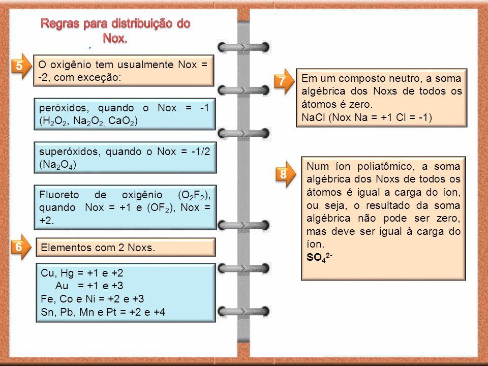 O oxigênio tem usualmente Nox = -2, com exceção: peróxidos, quando o Nox = -1 (H 2 O 2, Na 2 O 2, CaO 2 ) Fluoreto de oxigênio (O 2 F 2 ), quando Nox