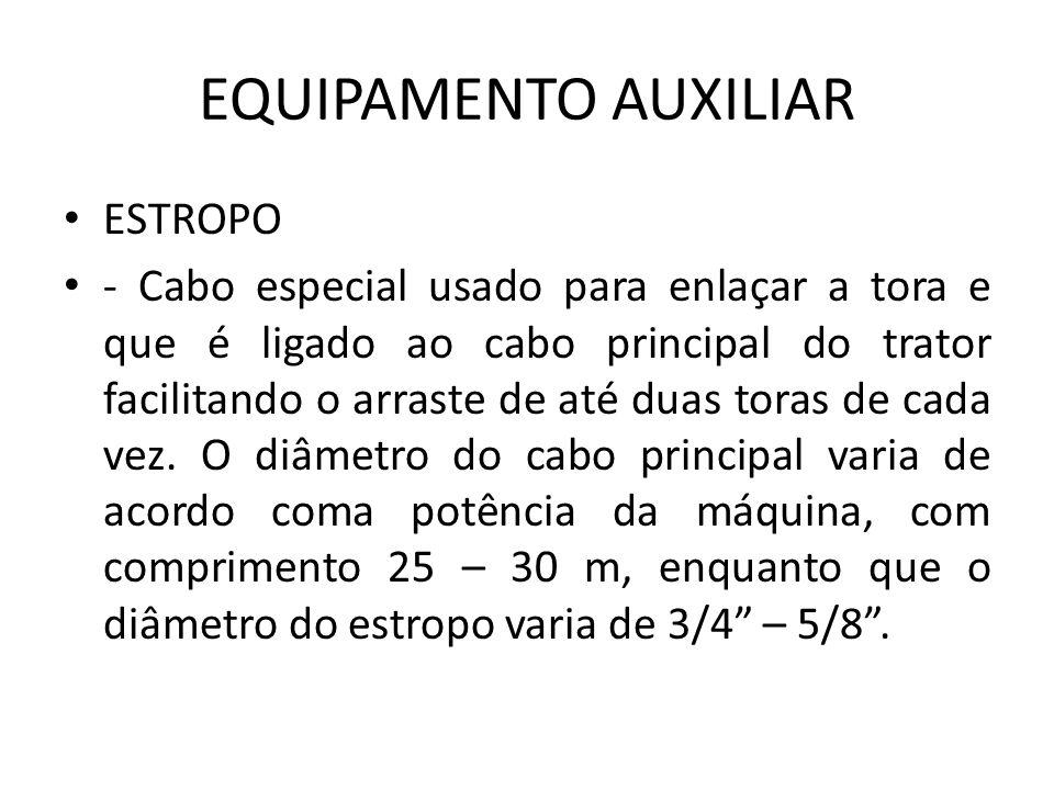 EQUIPAMENTO AUXILIAR ESTROPO - Cabo especial usado para enlaçar a tora e que é ligado ao cabo principal do trator facilitando o arraste de até duas to