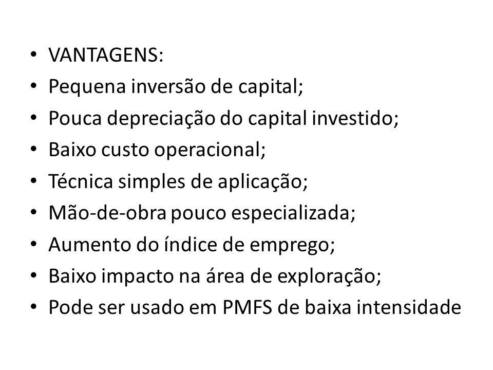 VANTAGENS: Pequena inversão de capital; Pouca depreciação do capital investido; Baixo custo operacional; Técnica simples de aplicação; Mão-de-obra pou