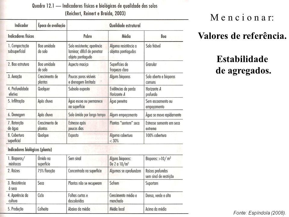 M e n c i o n a r: Valores de referência. Estabilidade de agregados. Fonte: Espíndola (2008).
