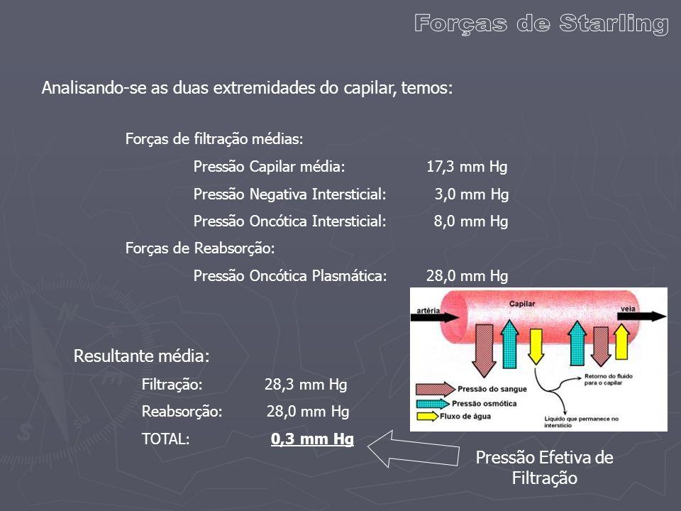 Analisando-se as duas extremidades do capilar, temos: Forças de filtração médias: Pressão Capilar média: 17,3 mm Hg Pressão Negativa Intersticial: 3,0