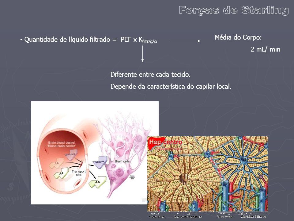 - Quantidade de líquido filtrado = PEF x K filtração Diferente entre cada tecido. Depende da característica do capilar local. Média do Corpo: 2 mL/ mi