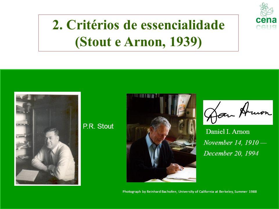 2. Critérios de essencialidade (Stout e Arnon, 1939) Daniel I. Arnon November 14, 1910 December 20, 1994 Photograph by Reinhard Bachofen, University o