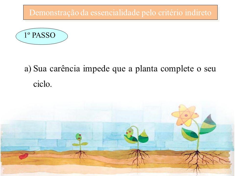 Demonstração da essencialidade pelo critério indireto 1º PASSO a)Sua carência impede que a planta complete o seu ciclo.