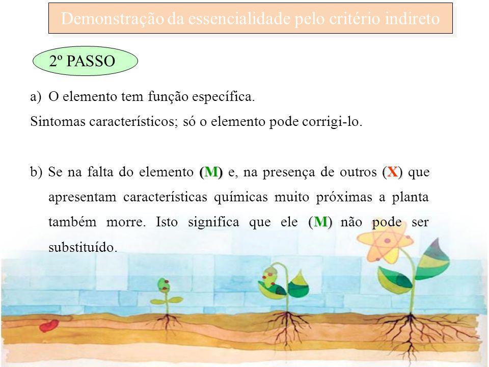 Demonstração da essencialidade pelo critério indireto 2º PASSO a)O elemento tem função específica. Sintomas característicos; só o elemento pode corrig
