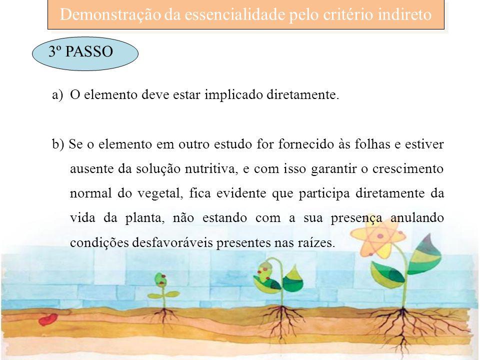 Demonstração da essencialidade pelo critério indireto 3º PASSO a)O elemento deve estar implicado diretamente. b) Se o elemento em outro estudo for for