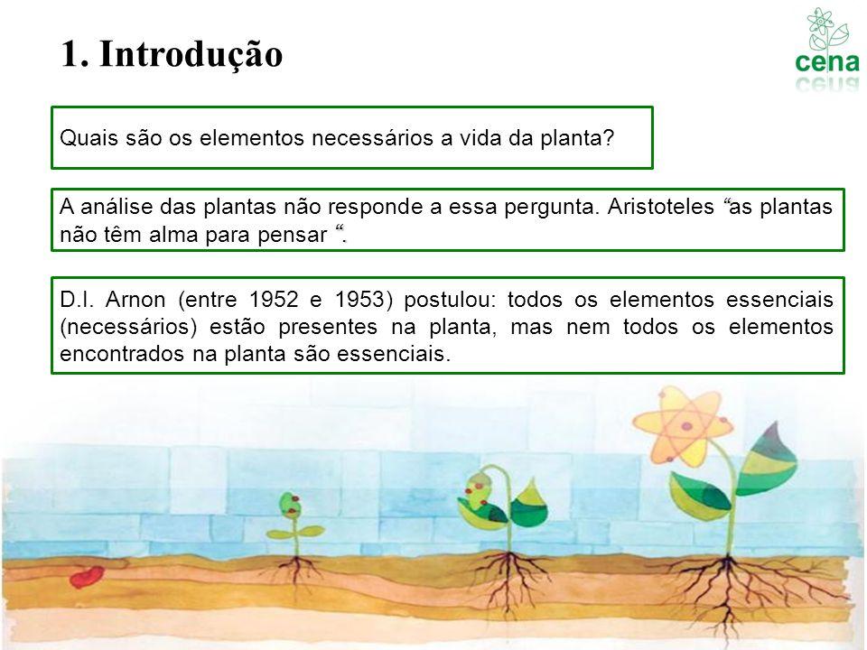 Quais são os elementos necessários a vida da planta?. A análise das plantas não responde a essa pergunta. Aristoteles as plantas não têm alma para pen