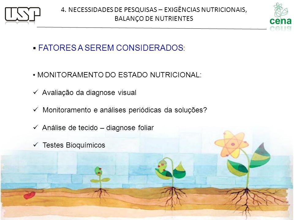 4. NECESSIDADES DE PESQUISAS – EXIGÊNCIAS NUTRICIONAIS, BALANÇO DE NUTRIENTES FATORES A SEREM CONSIDERADOS : MONITORAMENTO DO ESTADO NUTRICIONAL: Aval