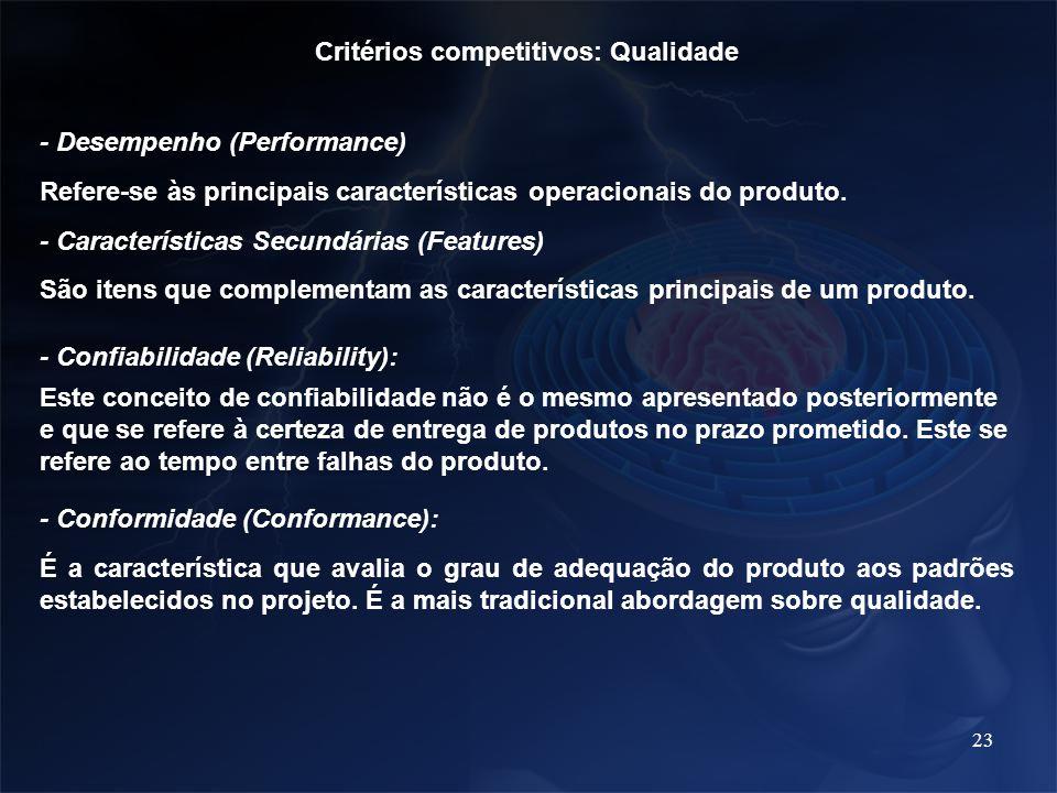 23 Critérios competitivos: Qualidade - Desempenho (Performance) Refere-se às principais características operacionais do produto. - Características Sec