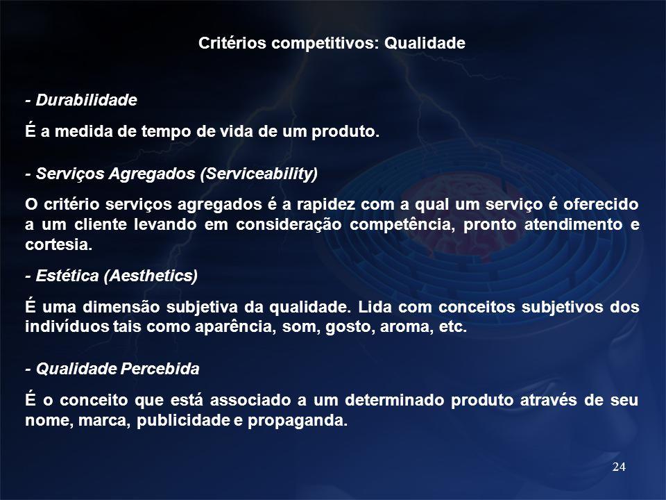 24 Critérios competitivos: Qualidade - Durabilidade É a medida de tempo de vida de um produto. - Serviços Agregados (Serviceability) O critério serviç