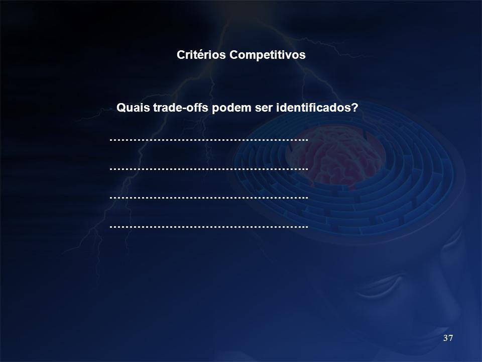 37 Critérios Competitivos - Quais trade-offs podem ser identificados? …………………………………………..