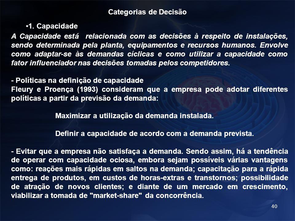 40 Categorias de Decisão 1. Capacidade A Capacidade está relacionada com as decisões à respeito de instalações, sendo determinada pela planta, equipam