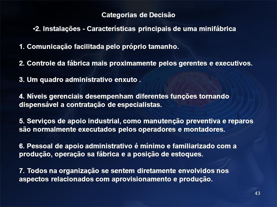 43 Categorias de Decisão 2. Instalações - Características principais de uma minifábrica 1. Comunicação facilitada pelo próprio tamanho. 2. Controle da