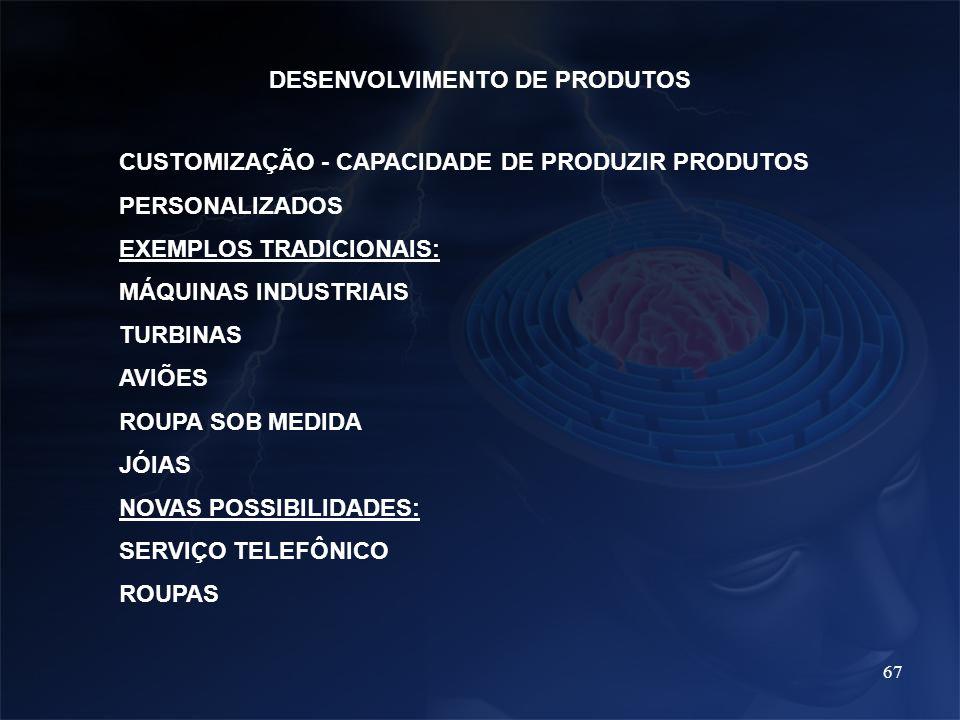 67 DESENVOLVIMENTO DE PRODUTOS CUSTOMIZAÇÃO - CAPACIDADE DE PRODUZIR PRODUTOS PERSONALIZADOS EXEMPLOS TRADICIONAIS: MÁQUINAS INDUSTRIAIS TURBINAS AVIÕ