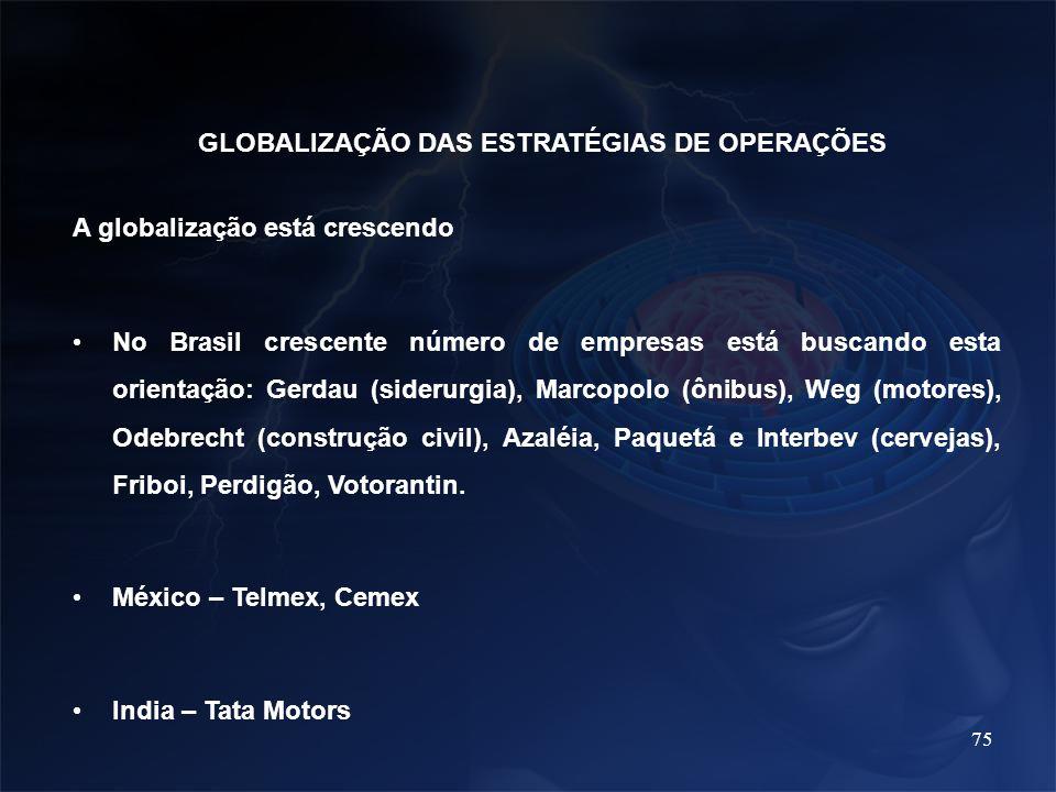 75 GLOBALIZAÇÃO DAS ESTRATÉGIAS DE OPERAÇÕES A globalização está crescendo No Brasil crescente número de empresas está buscando esta orientação: Gerda