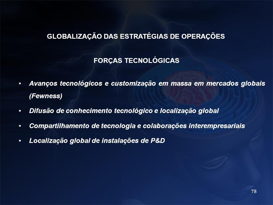 78 FORÇAS TECNOLÓGICAS Avanços tecnológicos e customização em massa em mercados globais (Fewness) Difusão de conhecimento tecnológico e localização gl
