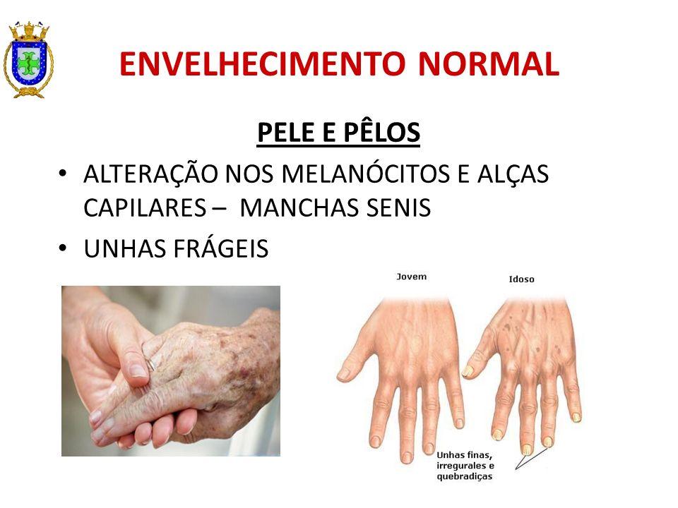 ENVELHECIMENTO NORMAL PELE E PÊLOS ALTERAÇÃO NOS MELANÓCITOS E ALÇAS CAPILARES – MANCHAS SENIS UNHAS FRÁGEIS