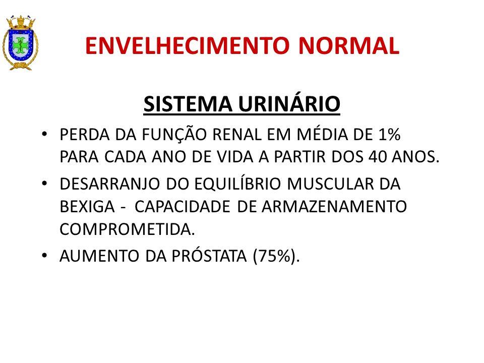 ENVELHECIMENTO NORMAL SISTEMA URINÁRIO PERDA DA FUNÇÃO RENAL EM MÉDIA DE 1% PARA CADA ANO DE VIDA A PARTIR DOS 40 ANOS. DESARRANJO DO EQUILÍBRIO MUSCU