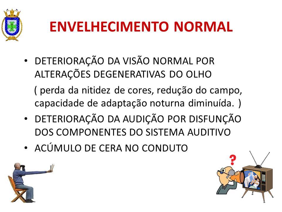 ENVELHECIMENTO NORMAL DETERIORAÇÃO DA VISÃO NORMAL POR ALTERAÇÕES DEGENERATIVAS DO OLHO ( perda da nitidez de cores, redução do campo, capacidade de a