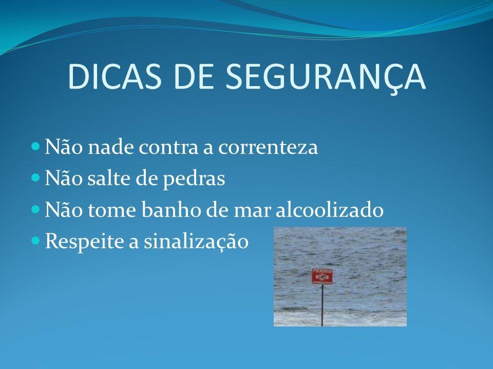 DICAS DE SEGURANÇA Não nade contra a correnteza Não salte de pedras Não tome banho de mar alcoolizado Respeite a sinalização