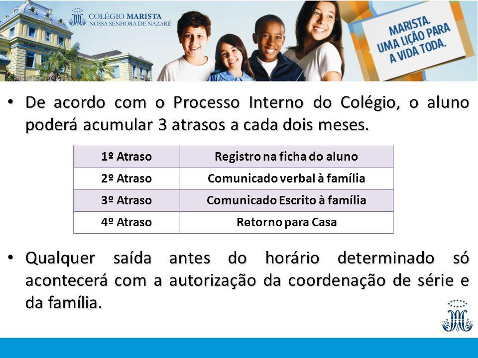 De acordo com o Processo Interno do Colégio, o aluno poderá acumular 3 atrasos a cada dois meses. De acordo com o Processo Interno do Colégio, o aluno