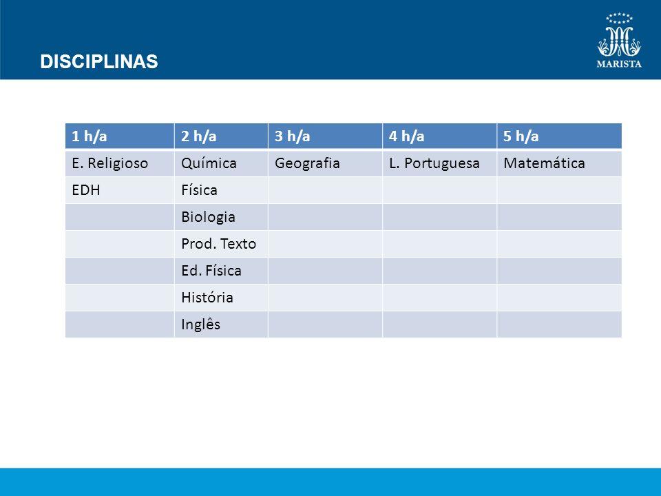 DISCIPLINAS 1 h/a2 h/a3 h/a4 h/a5 h/a E. ReligiosoQuímicaGeografiaL. PortuguesaMatemática EDHFísica Biologia Prod. Texto Ed. Física História Inglês