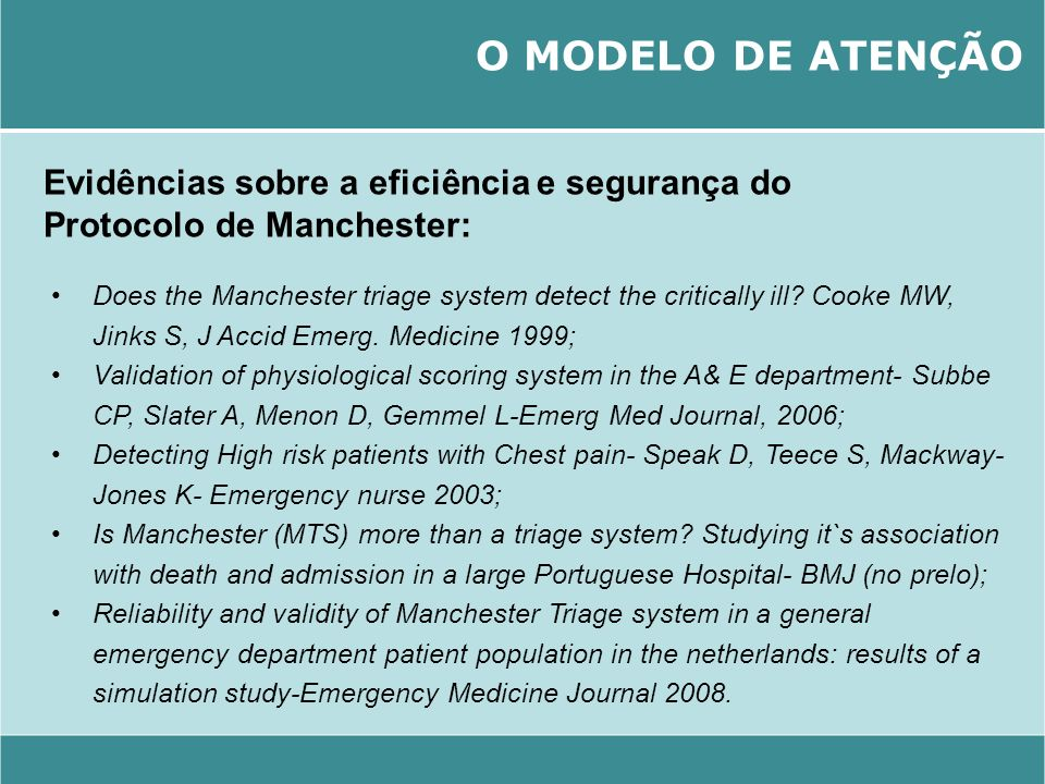 Does the Manchester triage system detect the critically ill? Cooke MW, Jinks S, J Accid Emerg. Medicine 1999; Validation of physiological scoring syst