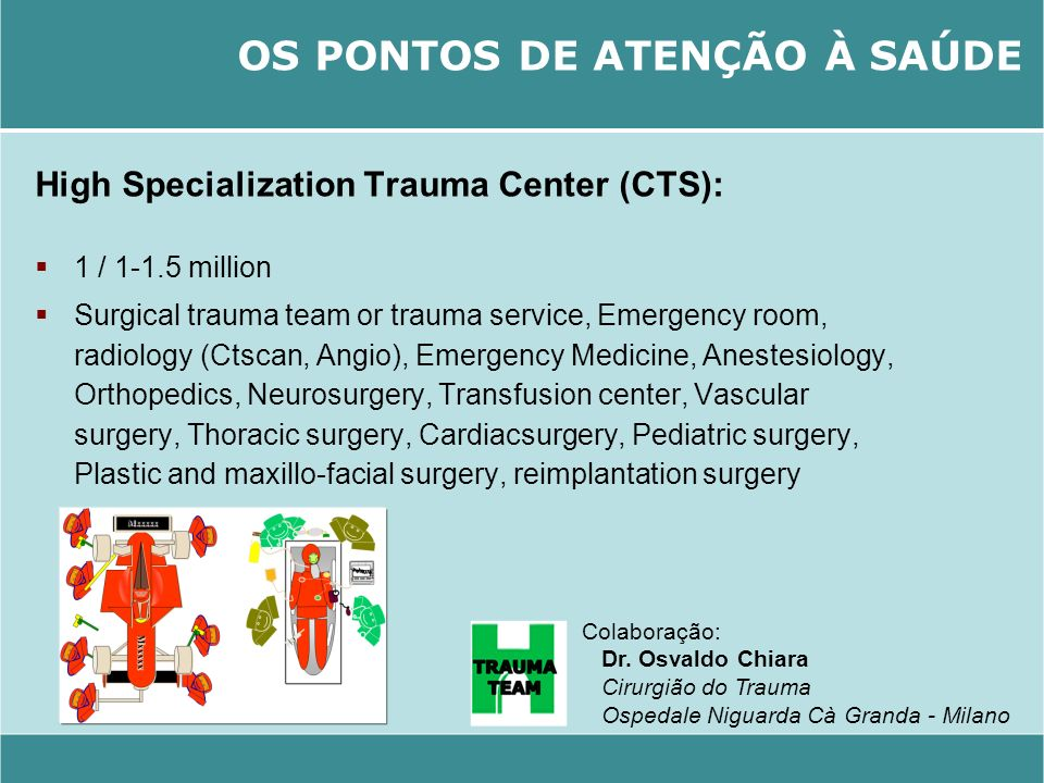 High Specialization Trauma Center (CTS): 1 / 1-1.5 million Surgical trauma team or trauma service, Emergency room, radiology (Ctscan, Angio), Emergenc