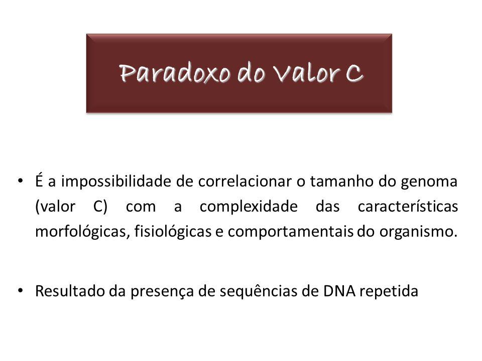Paradoxo do Valor C É a impossibilidade de correlacionar o tamanho do genoma (valor C) com a complexidade das características morfológicas, fisiológic