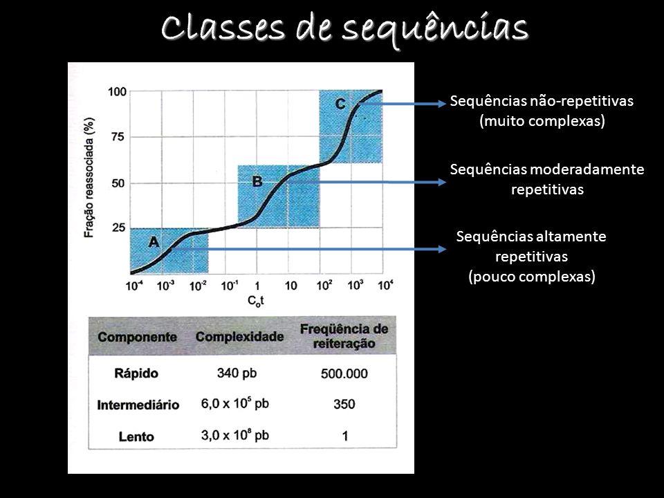 Classes de sequências Sequências altamente repetitivas (pouco complexas) Sequências moderadamente repetitivas Sequências não-repetitivas (muito comple