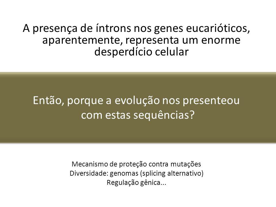 A presença de íntrons nos genes eucarióticos, aparentemente, representa um enorme desperdício celular Então, porque a evolução nos presenteou com esta