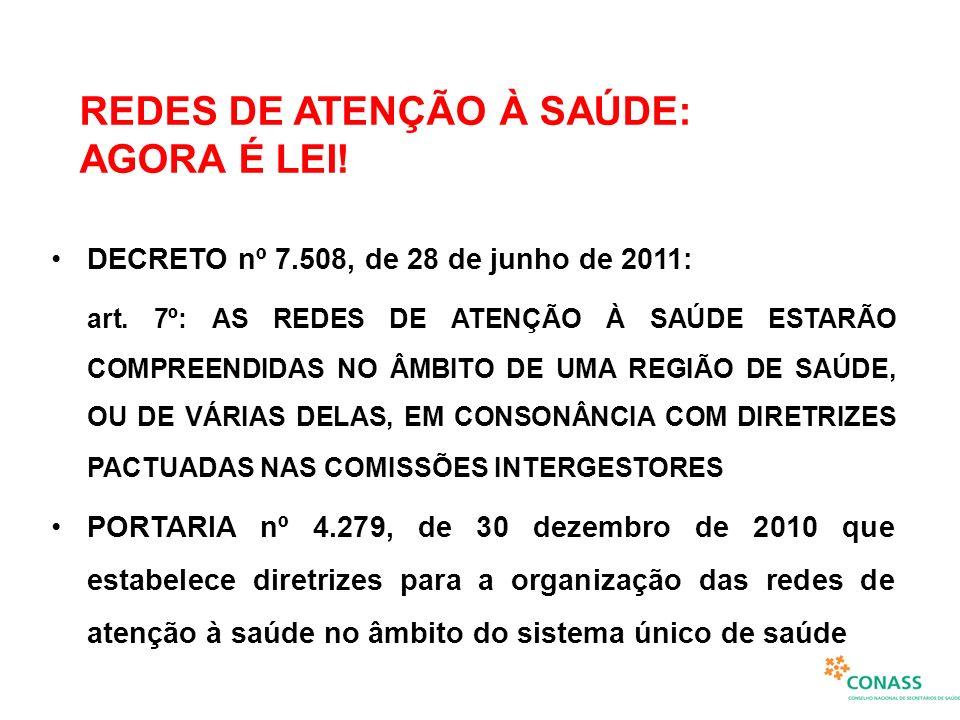 REDES DE ATENÇÃO À SAÚDE: AGORA É LEI! DECRETO nº 7.508, de 28 de junho de 2011: art. 7º: AS REDES DE ATENÇÃO À SAÚDE ESTARÃO COMPREENDIDAS NO ÂMBITO