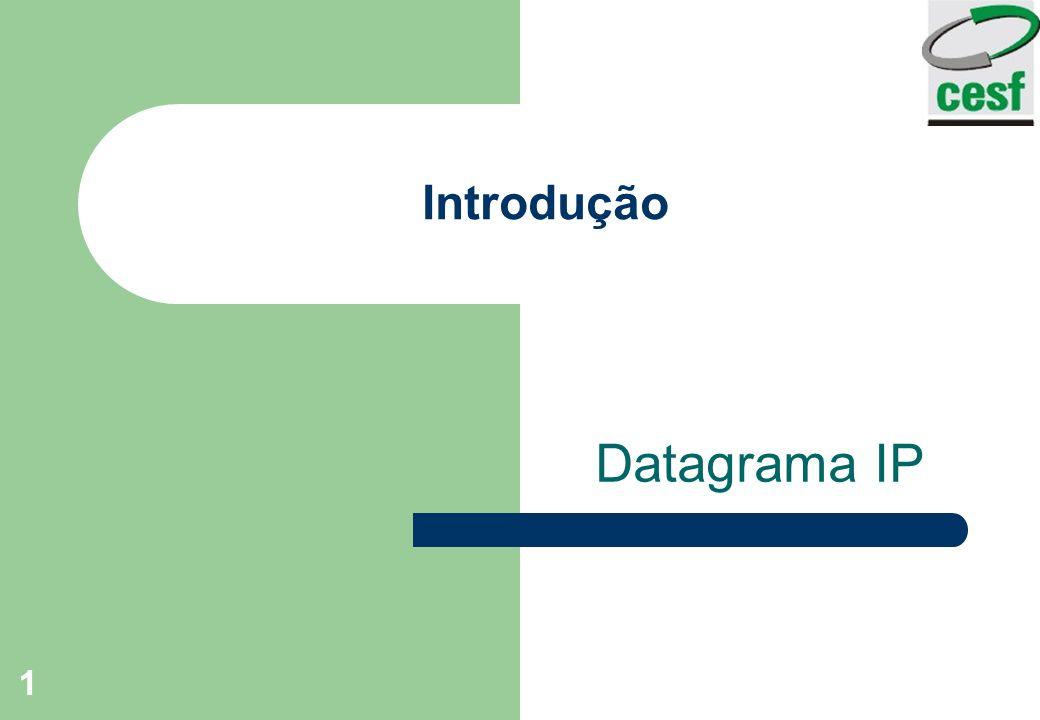 Professor: Arlindo Tadayuki Noji Instituto de Ensino Superior Fucapi - CESF 2 Introdução Descreve o formato de pacotes Como os roteadores encaminham os pacotes através de uma inter-redes?