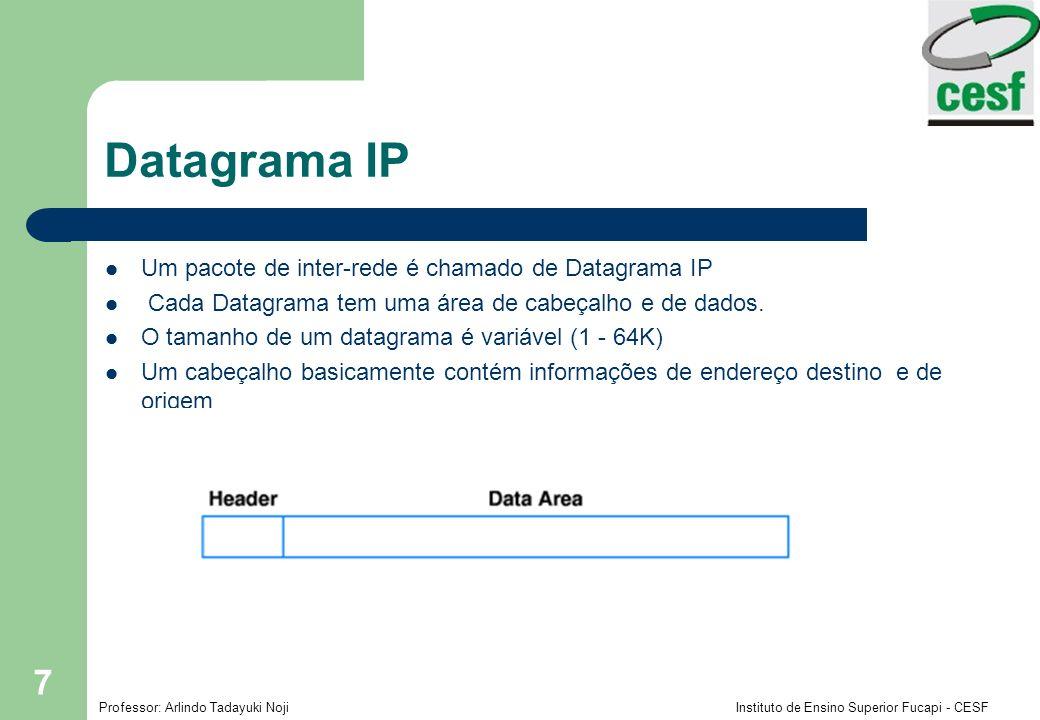 Professor: Arlindo Tadayuki Noji Instituto de Ensino Superior Fucapi - CESF 7 Datagrama IP Um pacote de inter-rede é chamado de Datagrama IP Cada Data