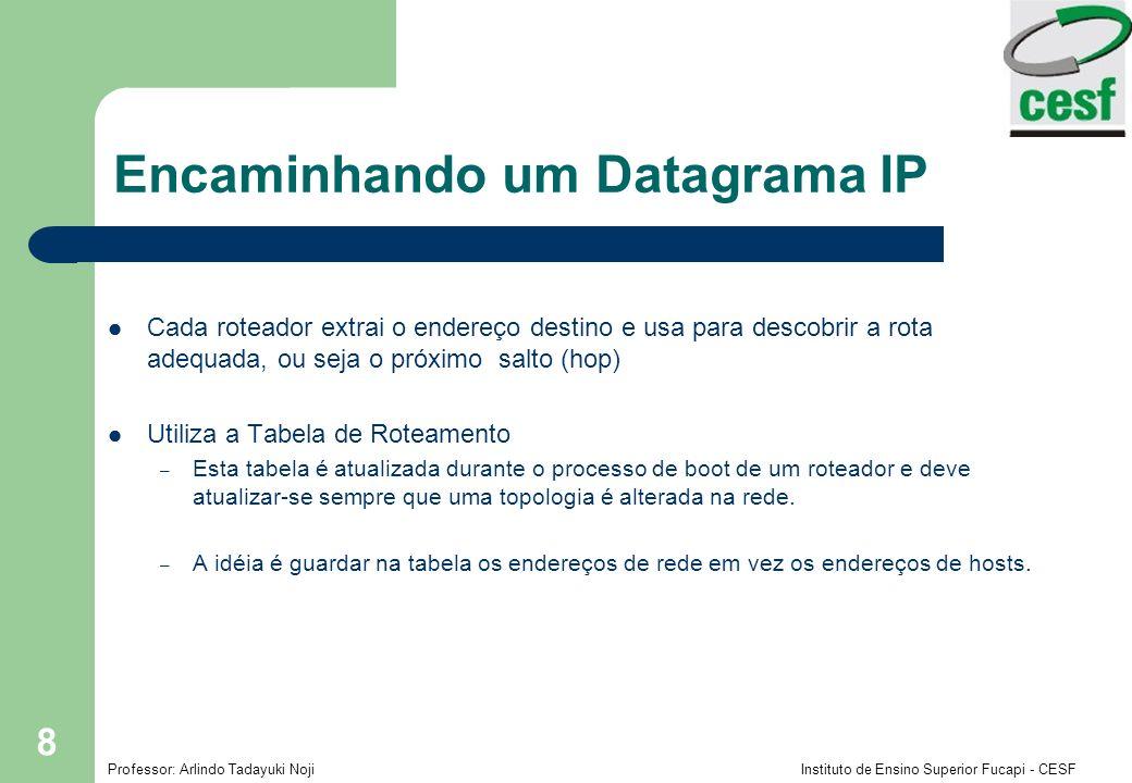 Professor: Arlindo Tadayuki Noji Instituto de Ensino Superior Fucapi - CESF 9 Encaminhando um Datagrama IP Ex.