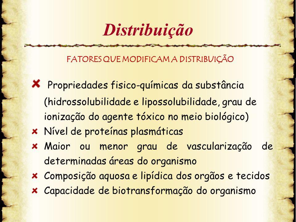 Distribuição Propriedades fisico-químicas da substância (hidrossolubilidade e lipossolubilidade, grau de ionização do agente tóxico no meio biológico)